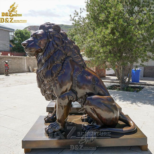 large outdoor sitting lion garden statue pair for sale