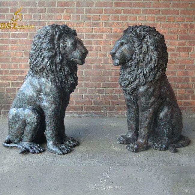 Outdoor bronze sitting lion garden statue