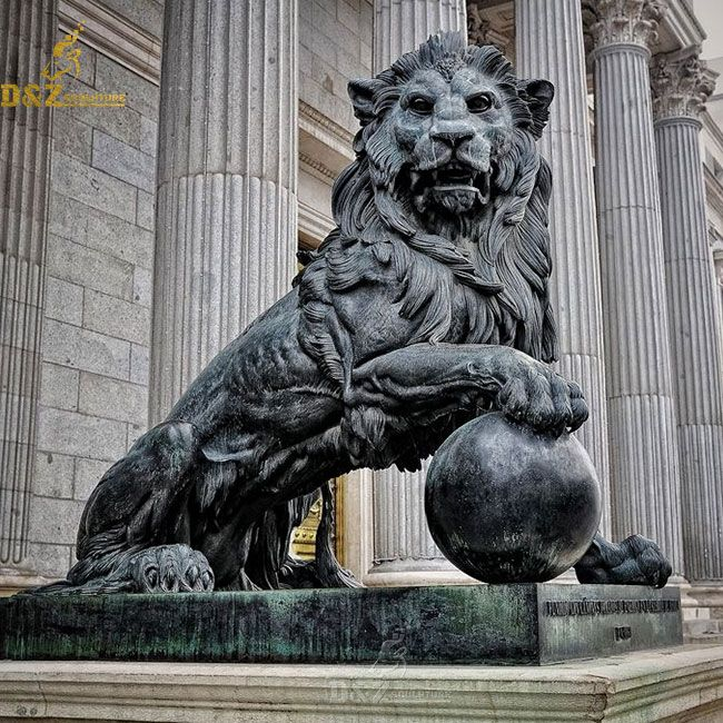 Antique Bronze Lion Statue With Ball