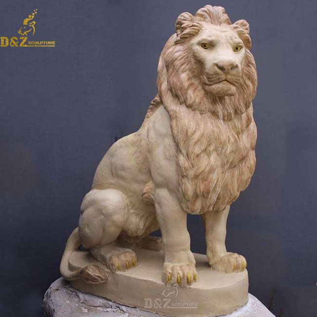 Yellow marble lion statue home decor