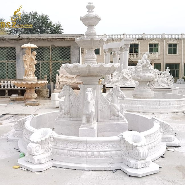 large outdoor horse fountain