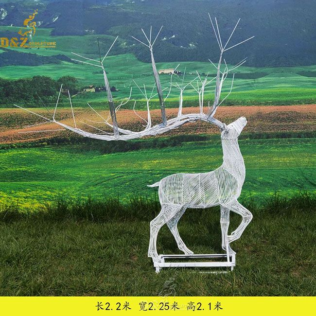 custom made life size white wire deer garden sculpture for sale