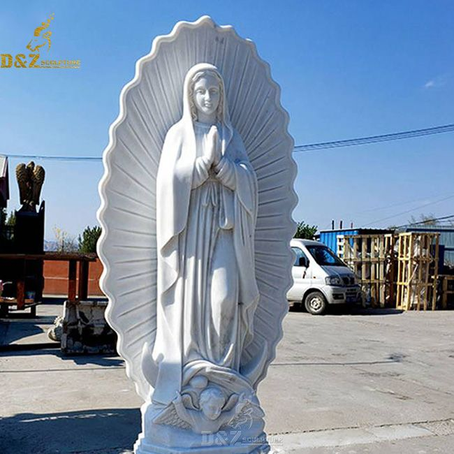 White marble Our Lady of Guadalupe Statue for sale
