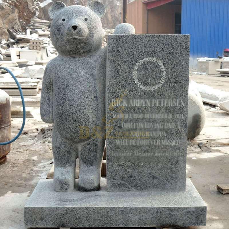 Hand Carved Teddy Bear Granite Headstone