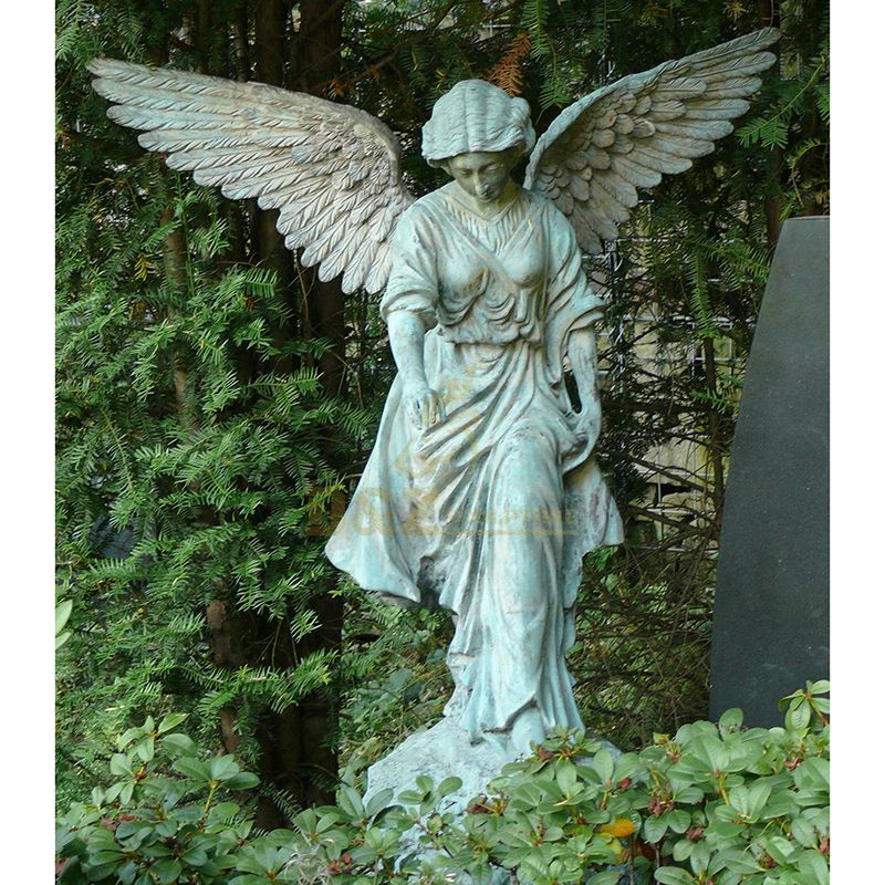 life size weeping angel garden statue