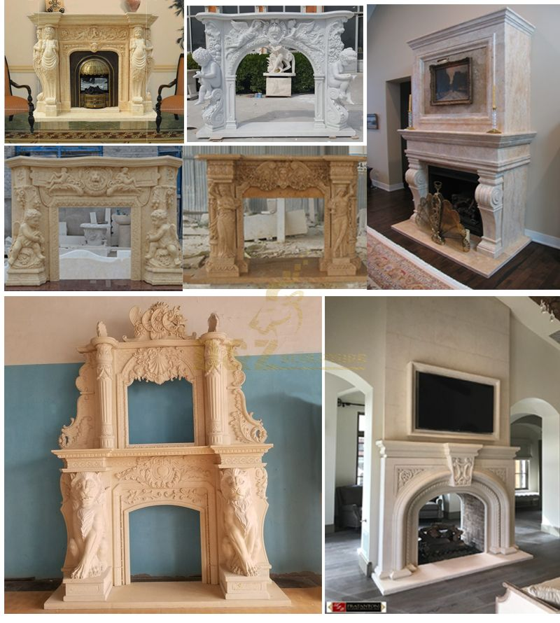 Double natural marble fireplace mantel
