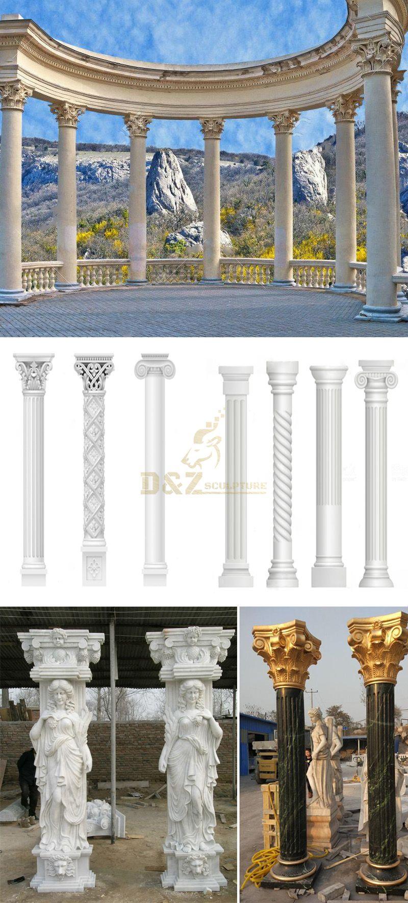 Building And Decoration White Stone Roman Columns