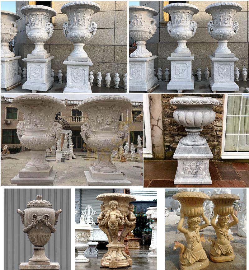 Marble Children Statue Garden Stone Flowerpot