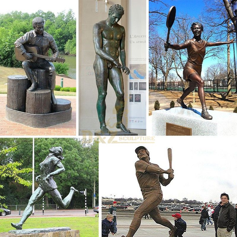 Outdoor Decoration Casting Bronze Sport Sculpture Cricket Player Statue