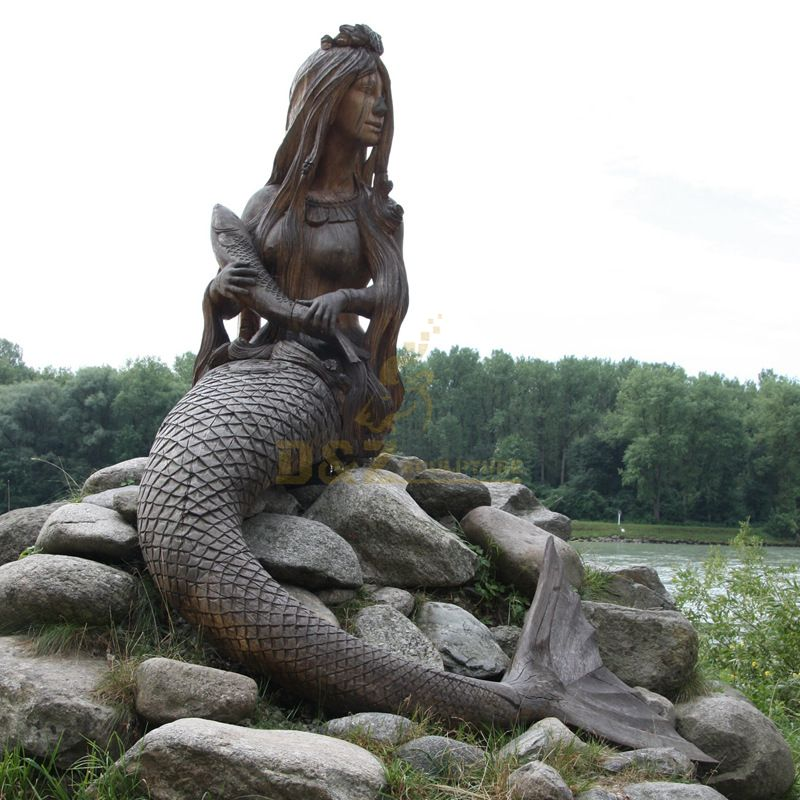 Outdoor decoration life size bronze mermaid statue for sale