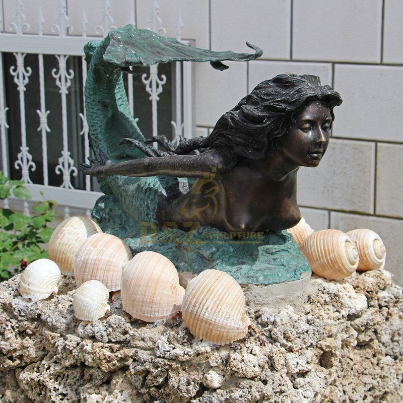 Hot Selling Outdoor Life Size Bronze Mermaid large Statues Sale