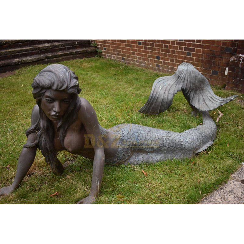 Antique cast mermaid shape decorative statue for home and garden