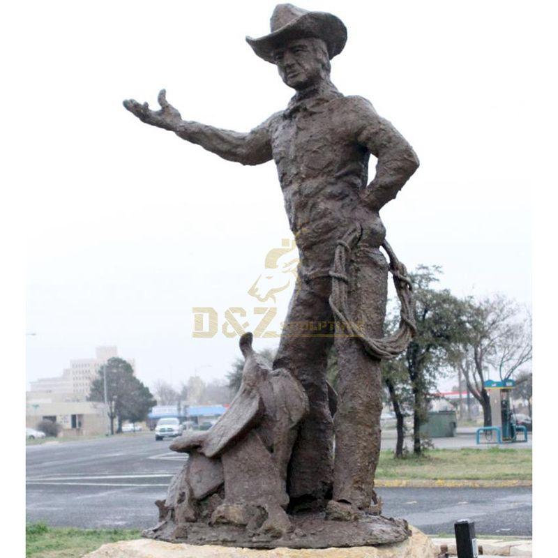 Antique Bronze cowboy and horse Sculpture for garden decoration