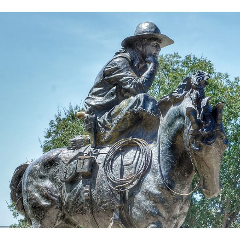 Outdoor metal casting cowboy bronze riding horse sculpture