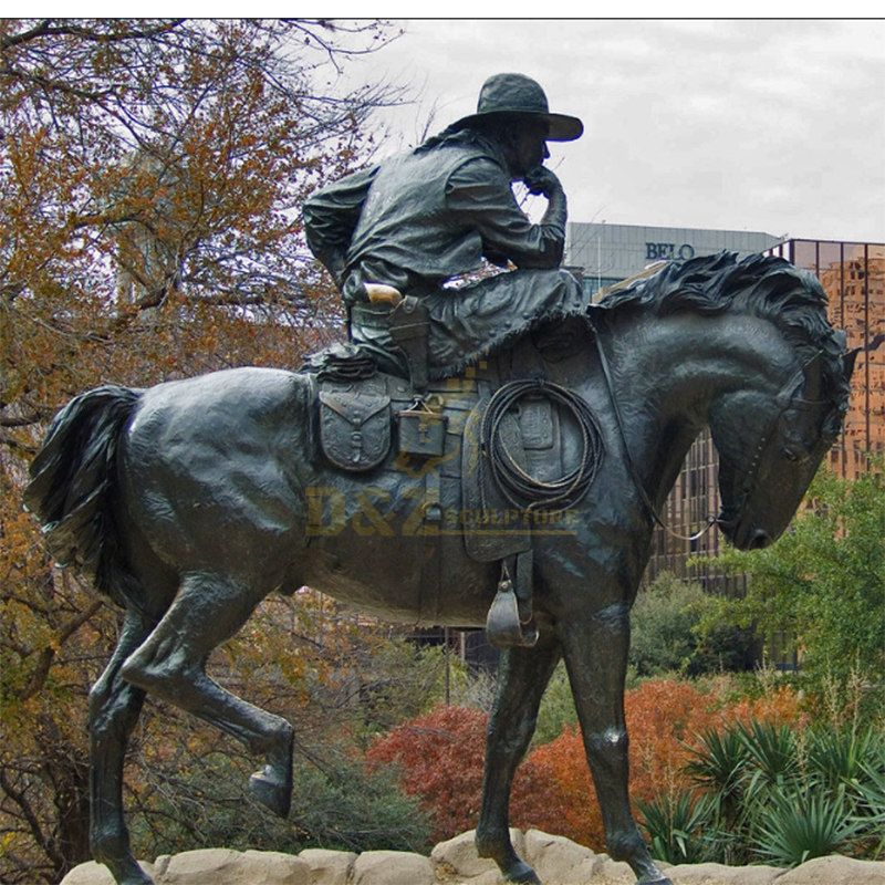 Chinese factory metal bronze cowboy sculpture