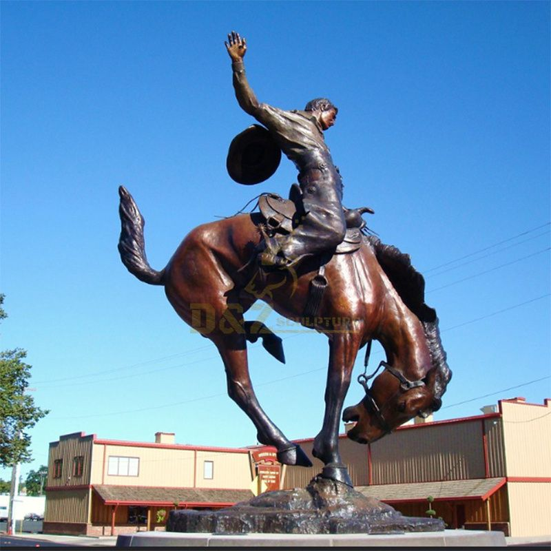 hot sale outdoor decor life size western style bronze cowboy riding horse statue sculptur