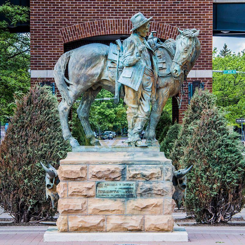 Professional factory life-size bronze cowboy sculpture