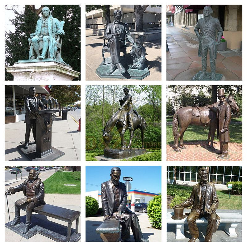 Modern garden decoration sculpture Abraham Lincoln Monument sculpture bronze famous figure statues