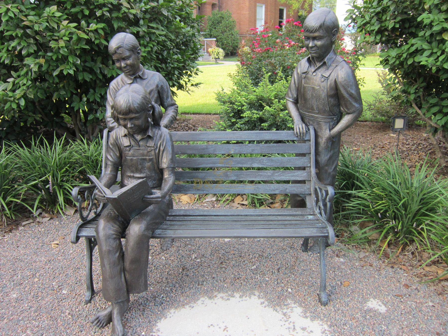 Garden Statue Life Size Bronze Chirldren Reading On Bench Sculptures