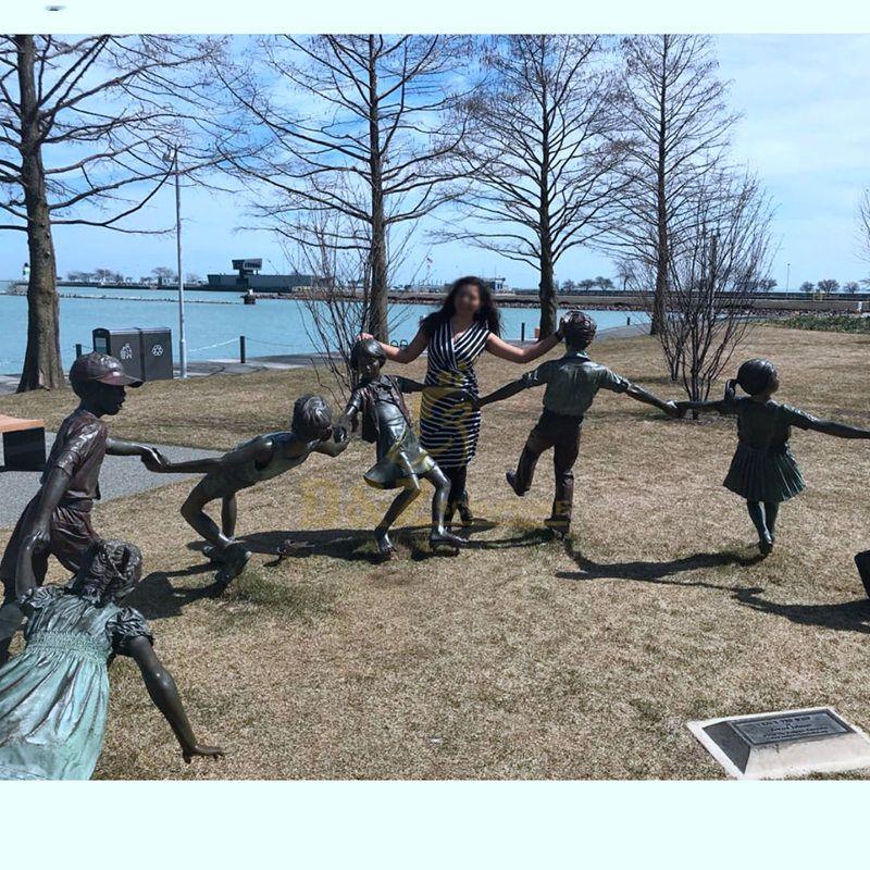 Life size garden bronze children statue 7 children