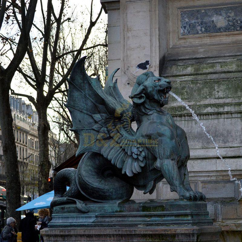 Paris france dragon water fountain