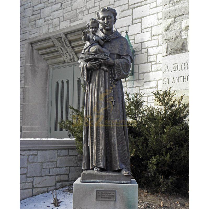 Custom Religious Crafts Bronze Saint Statue St. Anthony