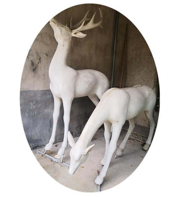 Marble Deer Garden Statue Exquisite Art Decoration For Sale