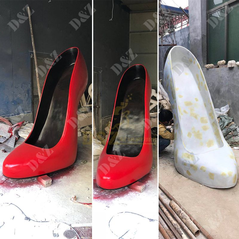 Outdoor Large Modern Fiberglass High Heel Sculpture