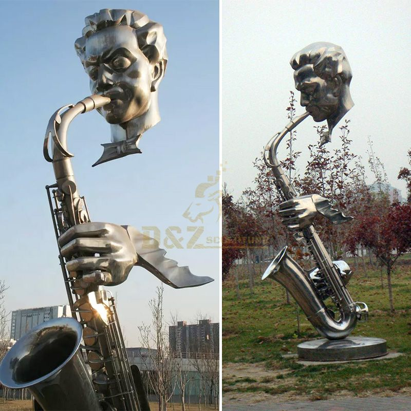 Western Decorative Bronze Casting Musician Bust Saxophone Statue