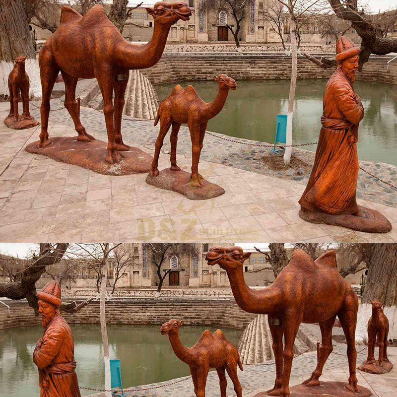 Outdoor Three Life Size Bronze Camel Sculpture