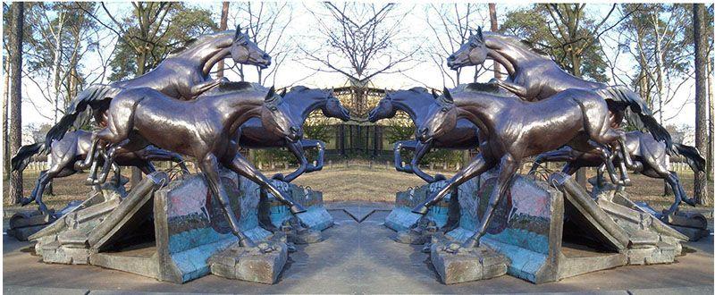 Outdoor large jumping bronze horse sculpture