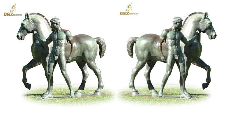 Muscular man bronze horse sculpture