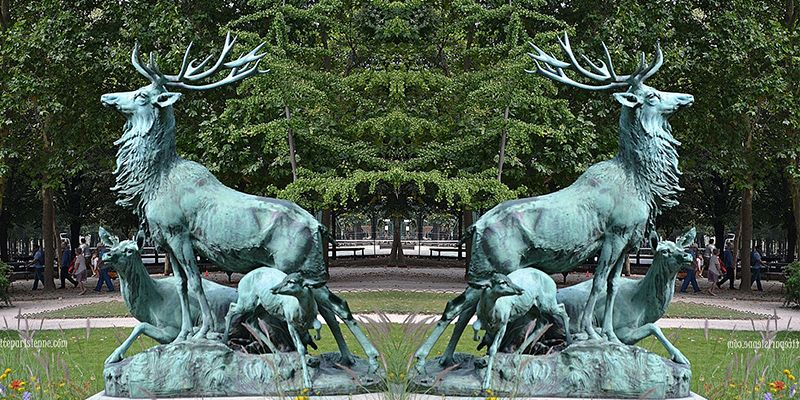Outdoor Decoration Customized Size Shining Bronze Antelope Sculpture