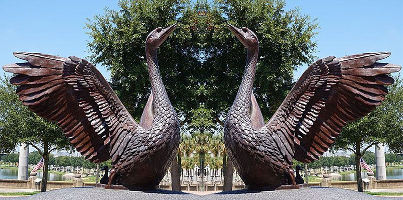 Outdoor large bronze swan garden statue for sale