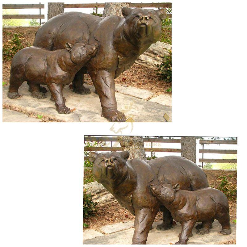 Outdoor Life Size Bronze Bear Garden Statue