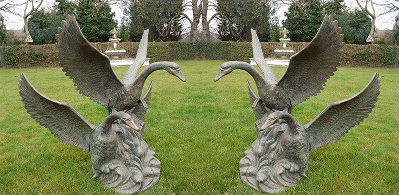 Outdoor bronze swan flying statue for sale