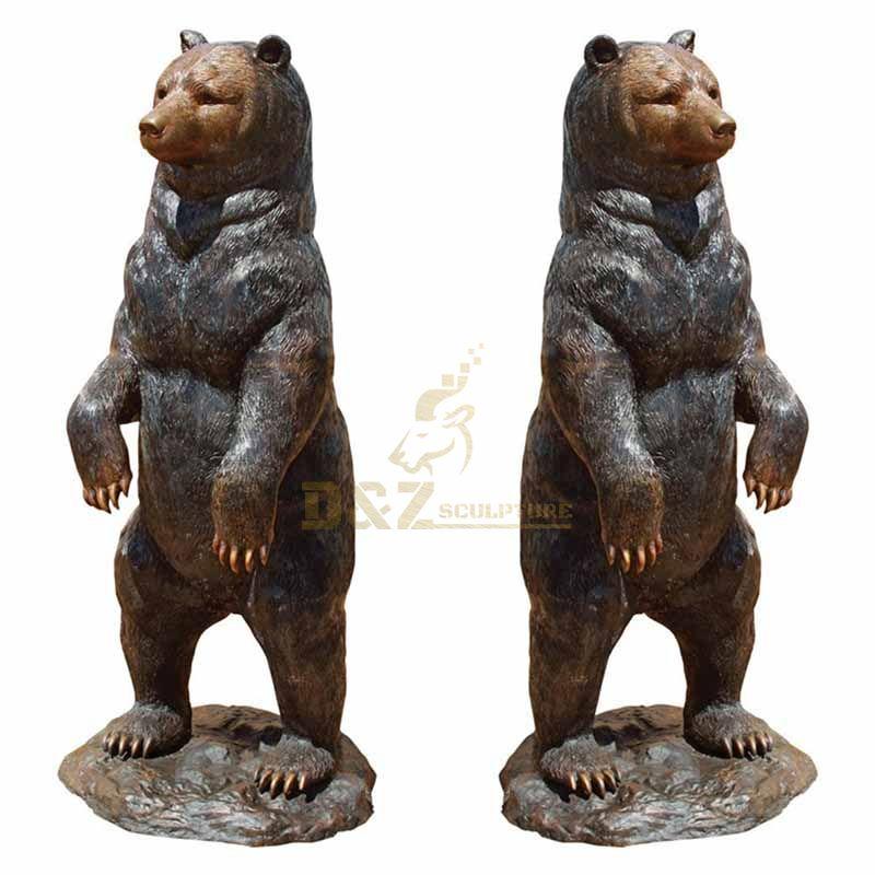 Garden decoration life size metal standing bronze bear statue