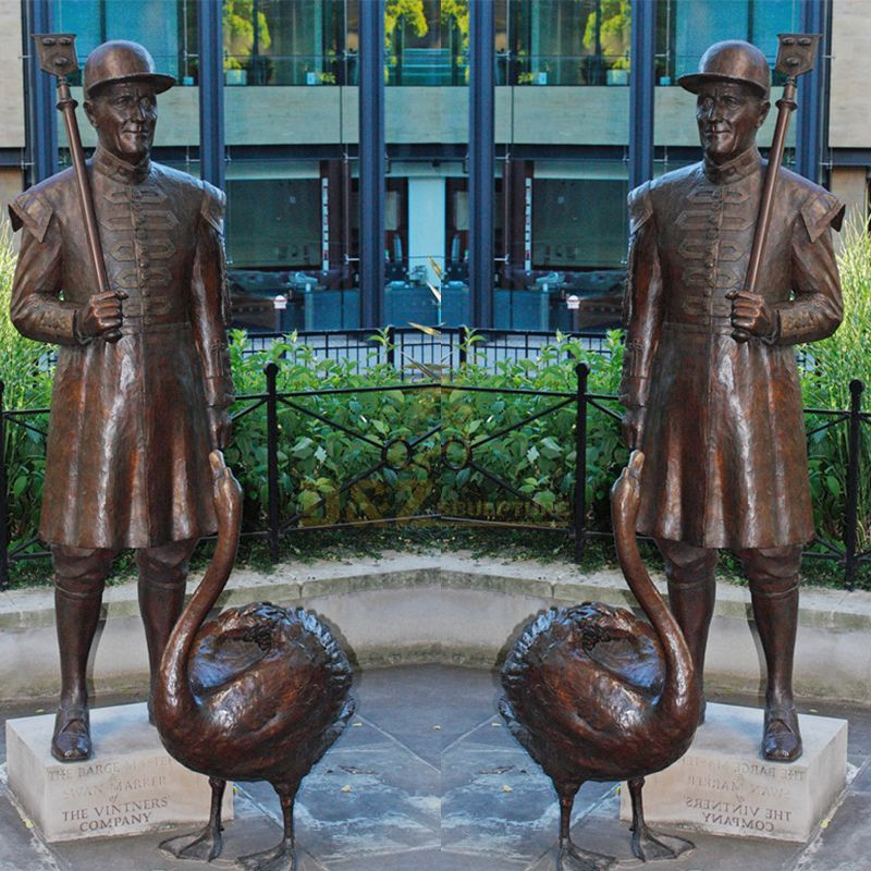 Outdoor bronze man and swan statue ornament