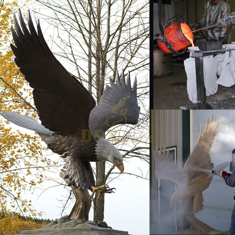 Outdoor life size bald eagle statue