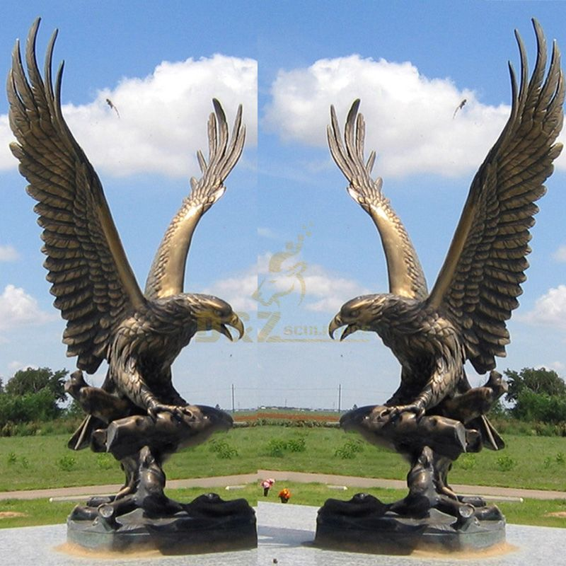 Outdoor giant vintage brass eagle garden statue for sale