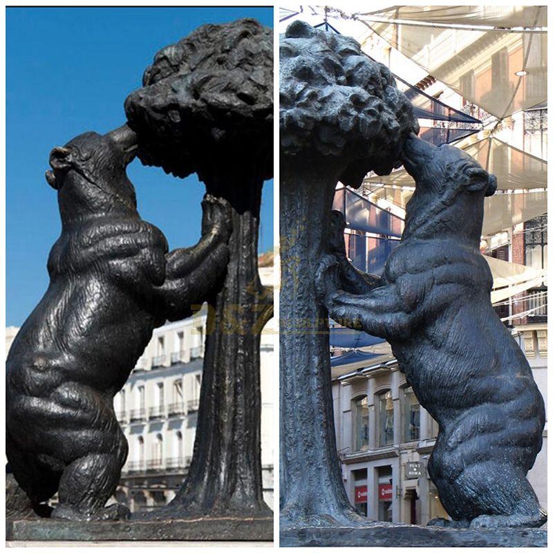 Metal Antique Cast Bronze Bear Statue For Park Decoration