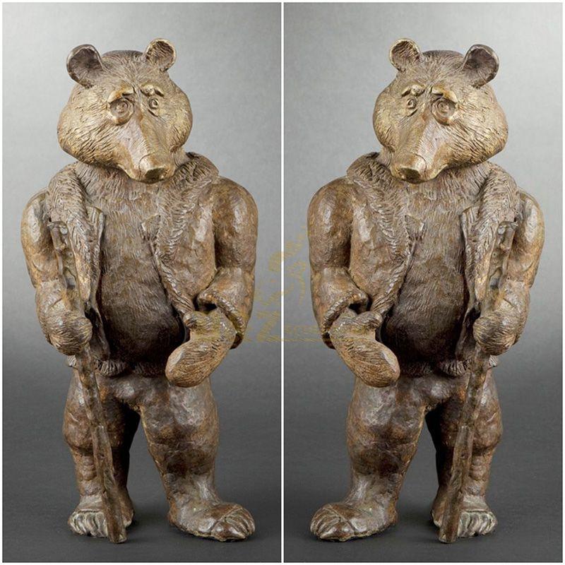 Factory supply large size custom handmade casting brass bronze bear statue