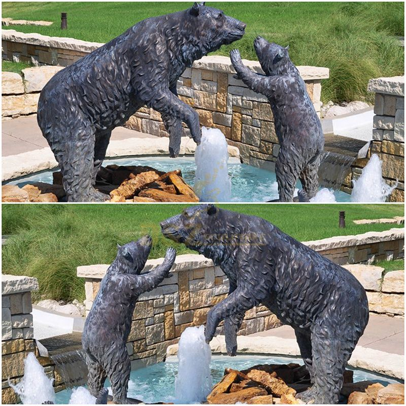 Outdoor bronze animal bear family sculpture