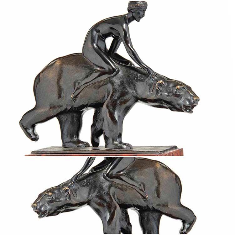 Bronze woman and bear metal home decoration sculpture
