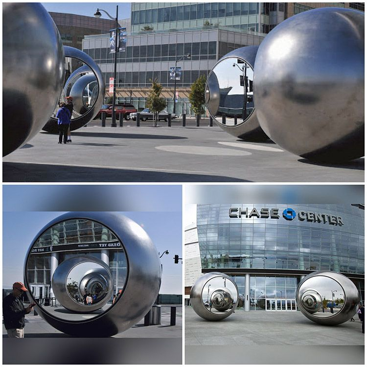 Outdoor large stainless steel abstract ball sculpture