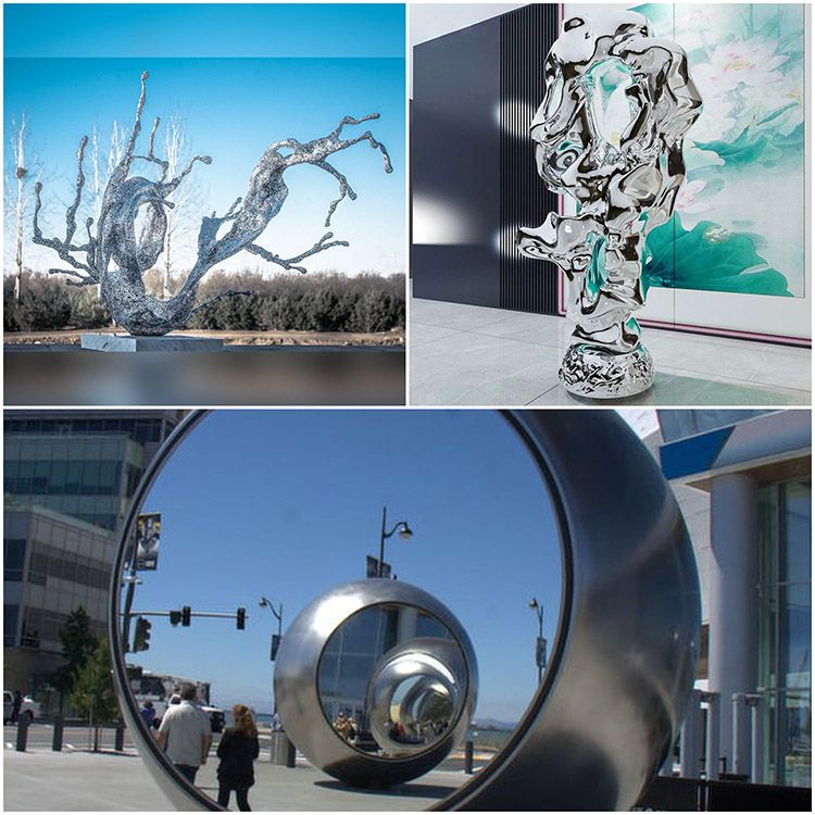 Outdoor hollow stainless steel water drop spray sculpture