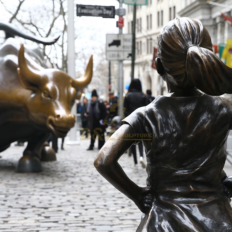 The wall street bull fearless girl statue replica