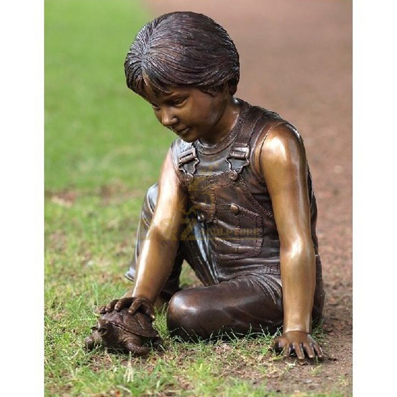 Outdoor life size turtle boy fountain statue for sale
