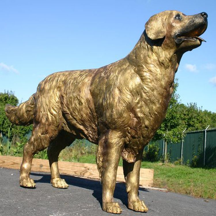 golden retriever garden statue