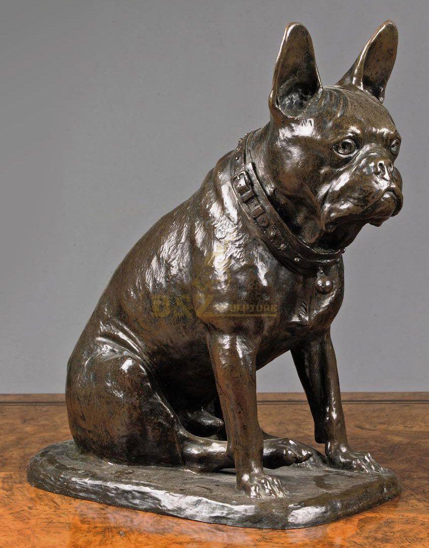 bronze french bulldog statue